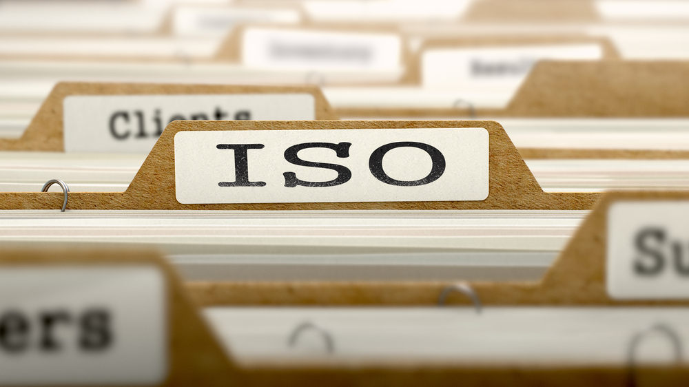 ISO - International Organization Standardization- Concept. Word on Folder Register of Card Index. Selective Focus.